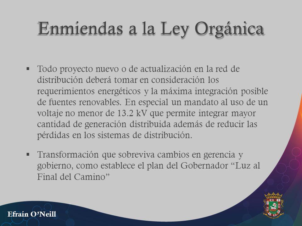 Enmiendas a la Ley Orgánica Todo proyecto nuevo o de actualización en la red de distribución deberá tomar en consideración los requerimientos energéti