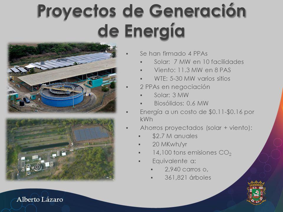 Proyectos de Generación de Energía Se han firmado 4 PPAs Solar: 7 MW en 10 facilidades Viento: 11.3 MW en 8 PAS WTE: 5-30 MW varios sitios 2 PPAs en n
