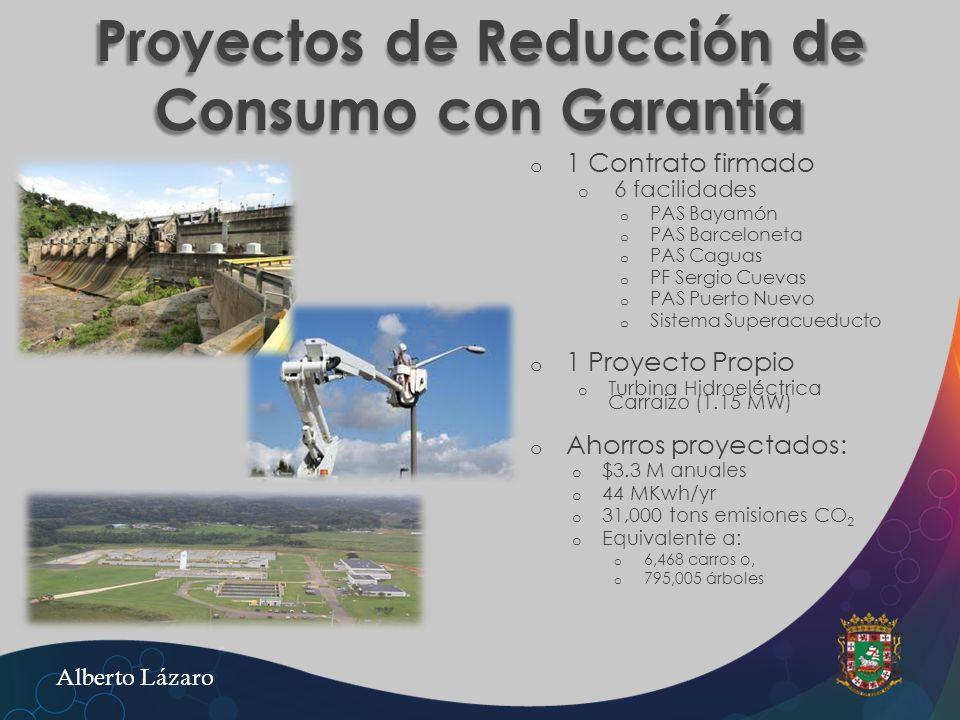 Proyectos de Reducción de Consumo con Garantía o o 1 Contrato firmado o o 6 facilidades o o PAS Bayamón o o PAS Barceloneta o o PAS Caguas o o PF Serg