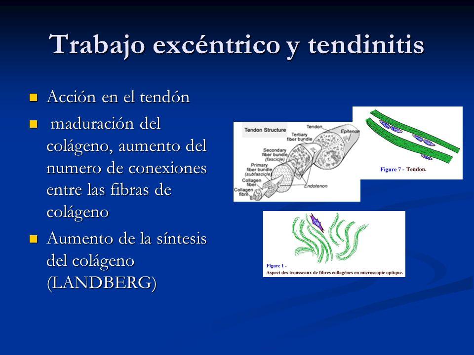 Trabajo excéntrico y tendinitis Acción en el tendón Acción en el tendón maduración del colágeno, aumento del numero de conexiones entre las fibras de colágeno maduración del colágeno, aumento del numero de conexiones entre las fibras de colágeno Aumento de la síntesis del colágeno (LANDBERG) Aumento de la síntesis del colágeno (LANDBERG)