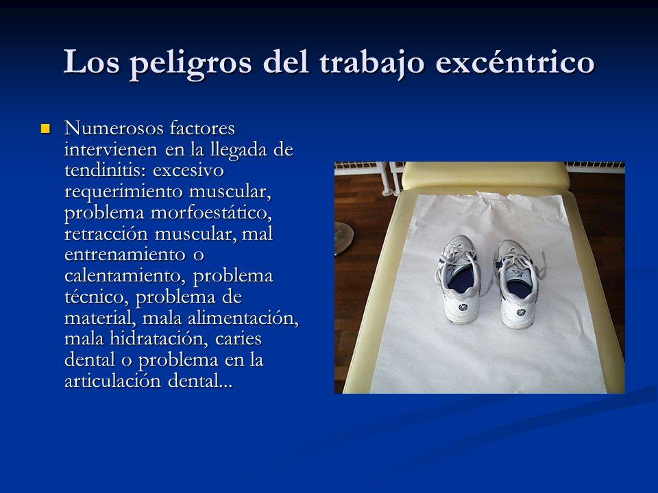 Los peligros del trabajo excéntrico Numerosos factores intervienen en la llegada de tendinitis: excesivo requerimiento muscular, problema morfoestátic