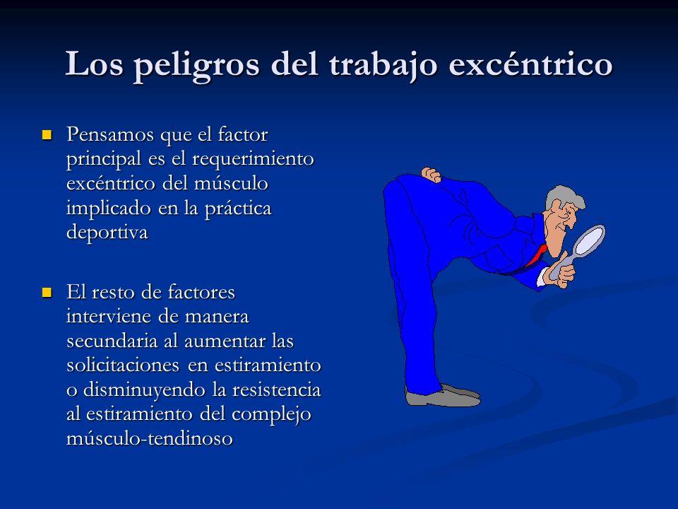 Los peligros del trabajo excéntrico Pensamos que el factor principal es el requerimiento excéntrico del músculo implicado en la práctica deportiva Pen