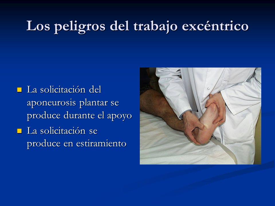 Los peligros del trabajo excéntrico La solicitación del aponeurosis plantar se produce durante el apoyo La solicitación del aponeurosis plantar se produce durante el apoyo La solicitación se produce en estiramiento La solicitación se produce en estiramiento