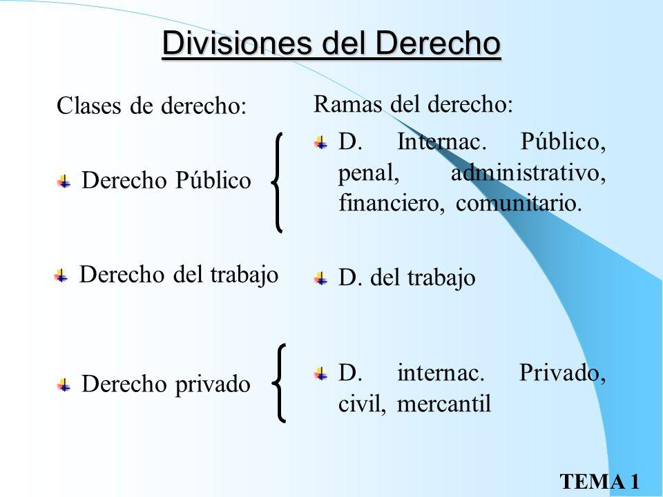 TEMA 1 Divisiones del Derecho Clases de derecho: Derecho Público Derecho privado Ramas del derecho: D.