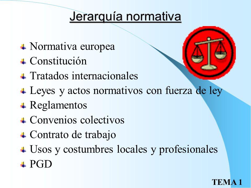 TEMA 1 Jerarquía normativa Normativa europea Constitución Tratados internacionales Leyes y actos normativos con fuerza de ley Reglamentos Convenios colectivos Contrato de trabajo Usos y costumbres locales y profesionales PGD