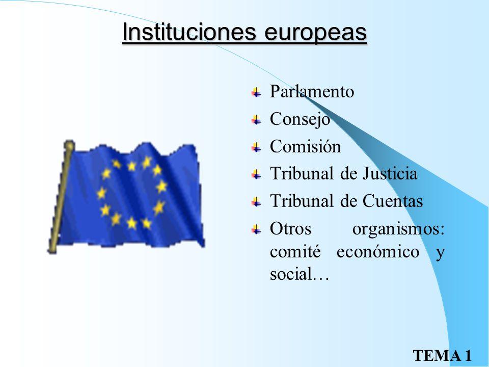 TEMA 1 Instituciones europeas Parlamento Consejo Comisión Tribunal de Justicia Tribunal de Cuentas Otros organismos: comité económico y social…