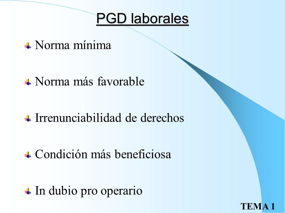 TEMA 1 PGD laborales Norma mínima Norma más favorable Irrenunciabilidad de derechos Condición más beneficiosa In dubio pro operario