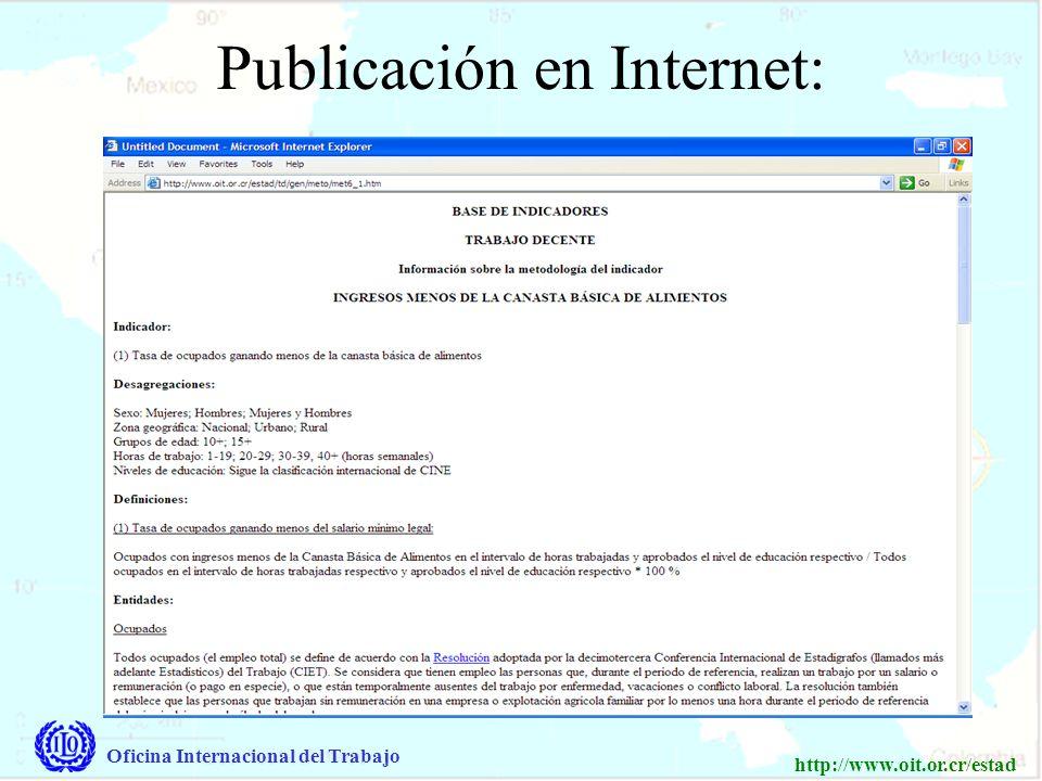 Oficina Internacional del Trabajo http://www.oit.or.cr/estad Para compartir datos confidenciales, se utiliza un sistema interactivo a través un log-in y contraseña Datos públicos de ICMT Datos públicos de Trabajo Decente Datos confidenciales de Trabajo Decente (a través log-in y contraseña)