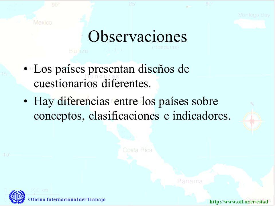 Oficina Internacional del Trabajo http://www.oit.or.cr/estad Observaciones Los países presentan diseños de cuestionarios diferentes.