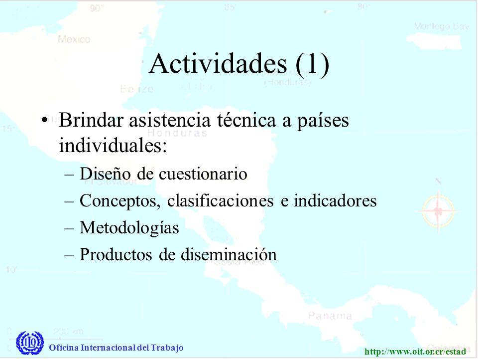 Oficina Internacional del Trabajo http://www.oit.or.cr/estad Actividades (1) Brindar asistencia técnica a países individuales: –Diseño de cuestionario –Conceptos, clasificaciones e indicadores –Metodologías –Productos de diseminación