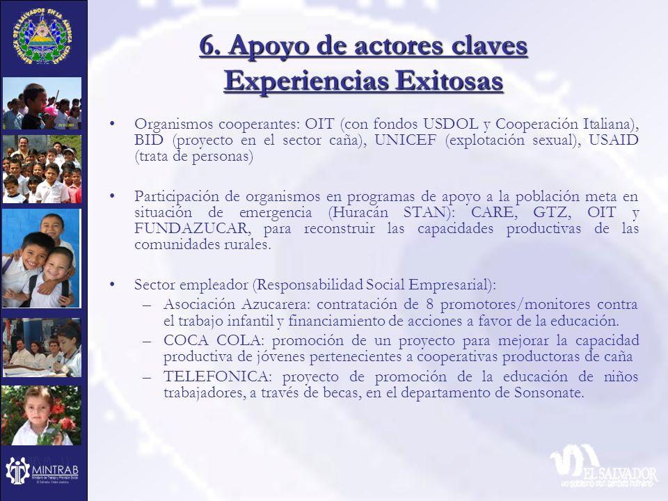 6. Apoyo de actores claves Experiencias Exitosas Organismos cooperantes: OIT (con fondos USDOL y Cooperación Italiana), BID (proyecto en el sector cañ