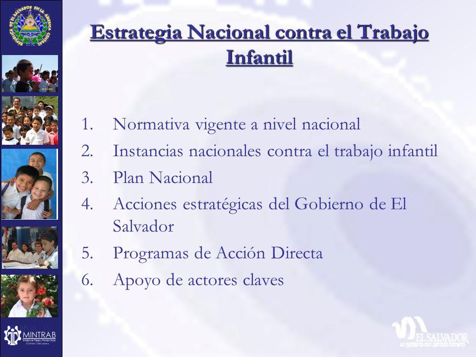 Estrategia Nacional contra el Trabajo Infantil 1.Normativa vigente a nivel nacional 2.Instancias nacionales contra el trabajo infantil 3.Plan Nacional