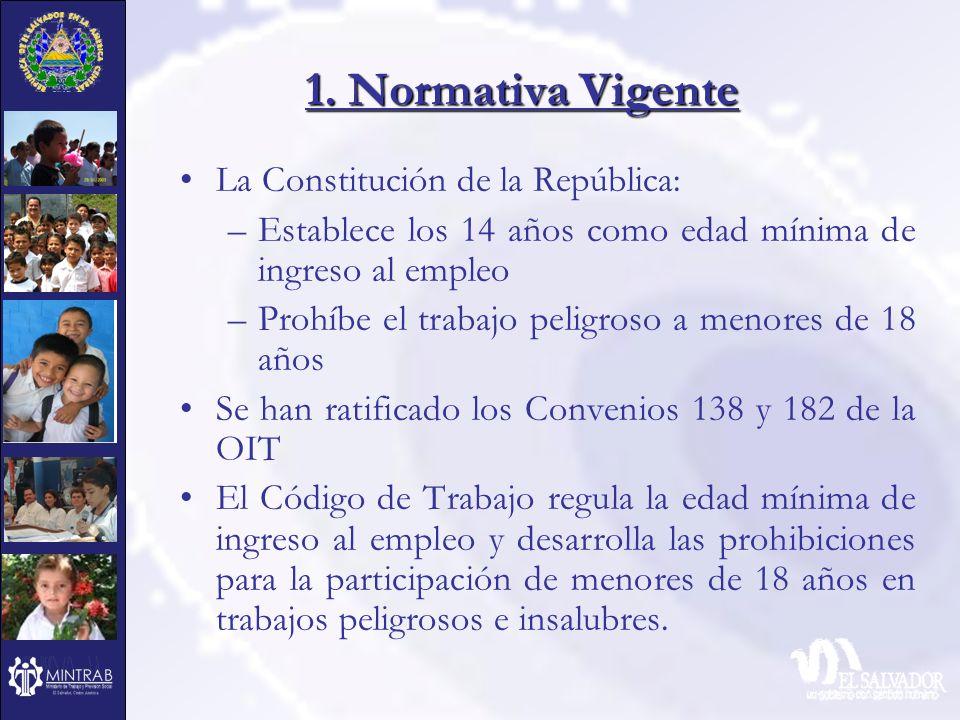 1. Normativa Vigente La Constitución de la República: –Establece los 14 años como edad mínima de ingreso al empleo –Prohíbe el trabajo peligroso a men