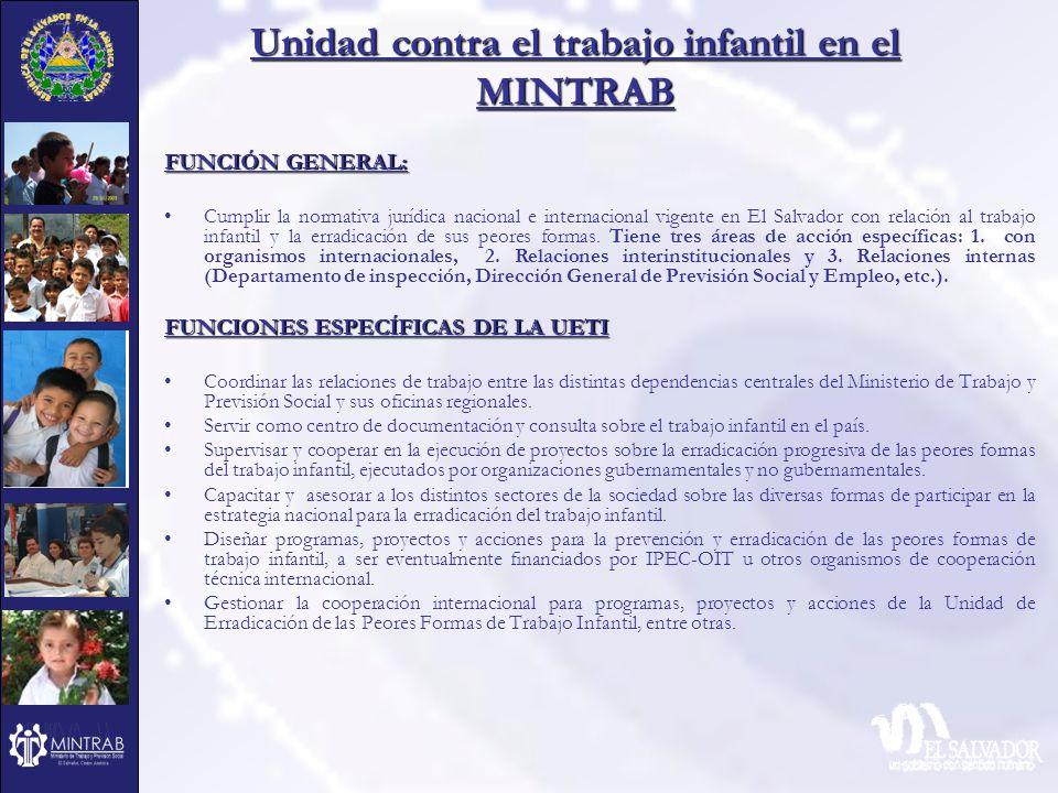 Unidad contra el trabajo infantil en el MINTRAB FUNCIÓN GENERAL: Cumplir la normativa jurídica nacional e internacional vigente en El Salvador con rel