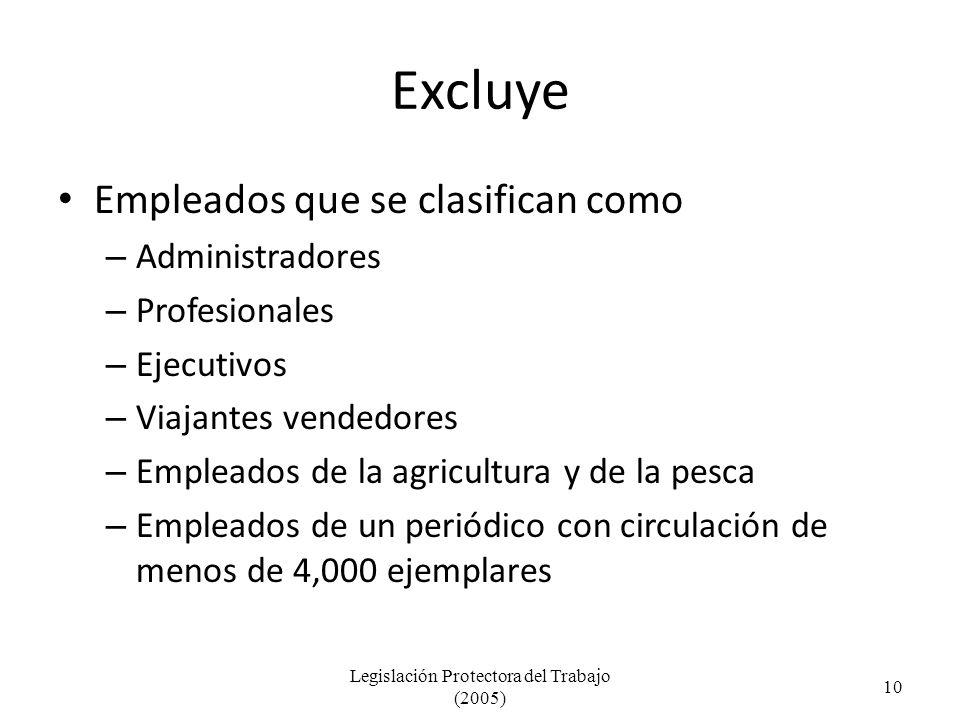 Excluye Empleados que se clasifican como – Administradores – Profesionales – Ejecutivos – Viajantes vendedores – Empleados de la agricultura y de la pesca – Empleados de un periódico con circulación de menos de 4,000 ejemplares Legislación Protectora del Trabajo (2005) 10