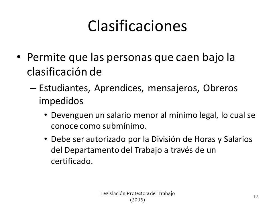 Clasificaciones Permite que las personas que caen bajo la clasificación de – Estudiantes, Aprendices, mensajeros, Obreros impedidos Devenguen un salario menor al mínimo legal, lo cual se conoce como submínimo.