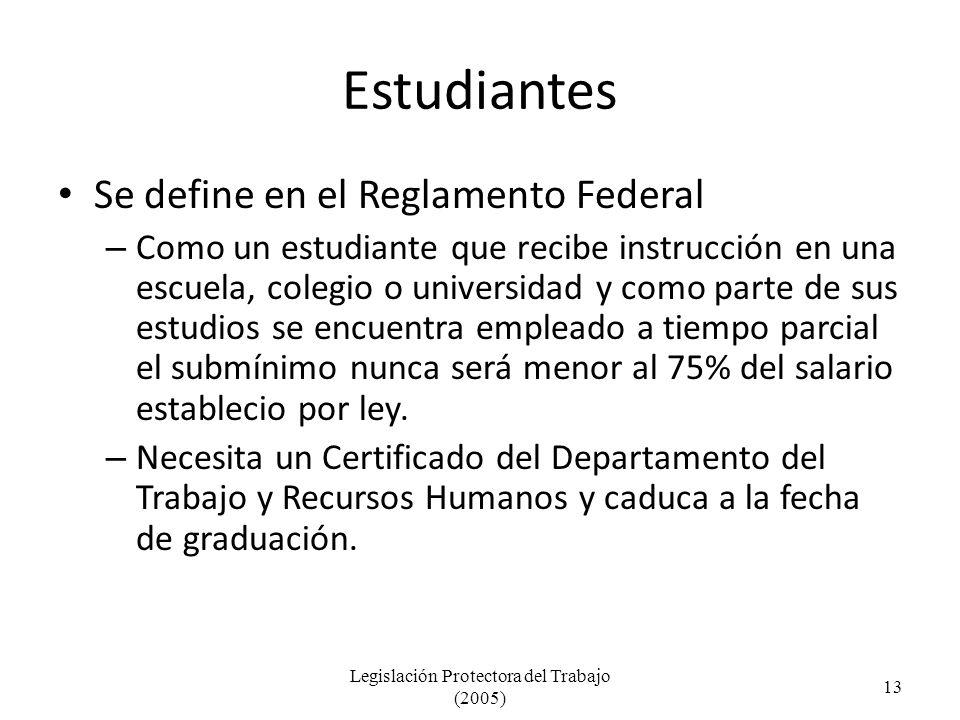 Estudiantes Se define en el Reglamento Federal – Como un estudiante que recibe instrucción en una escuela, colegio o universidad y como parte de sus estudios se encuentra empleado a tiempo parcial el submínimo nunca será menor al 75% del salario establecio por ley.