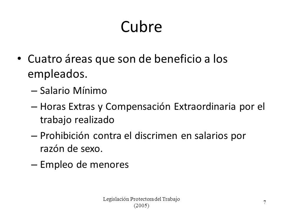 Cubre Cuatro áreas que son de beneficio a los empleados.