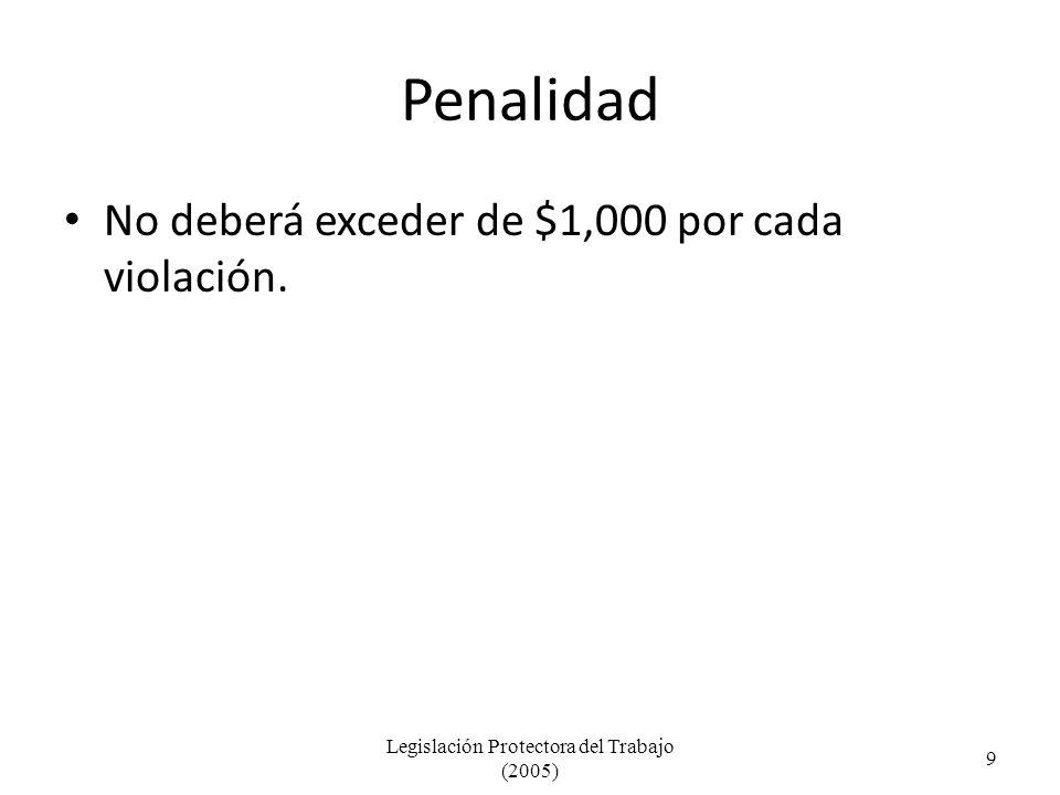 Penalidad No deberá exceder de $1,000 por cada violación.