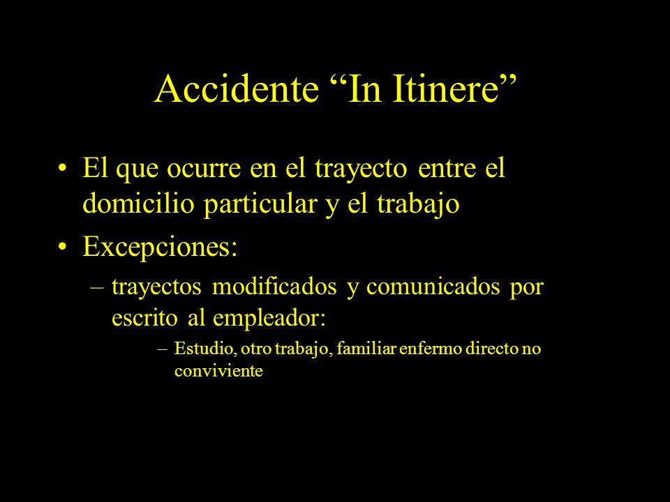 Dra. Graciela A. Aguirre Accidente In Itinere El que ocurre en el trayecto entre el domicilio particular y el trabajo Excepciones: –trayectos modifica