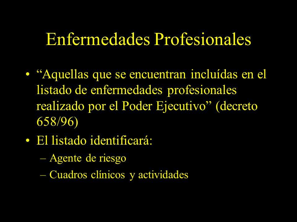 Dra. Graciela A. Aguirre Enfermedades Profesionales Aquellas que se encuentran incluídas en el listado de enfermedades profesionales realizado por el