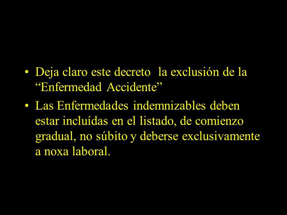 Dra. Graciela A. Aguirre Deja claro este decreto la exclusión de la Enfermedad Accidente Las Enfermedades indemnizables deben estar incluídas en el li