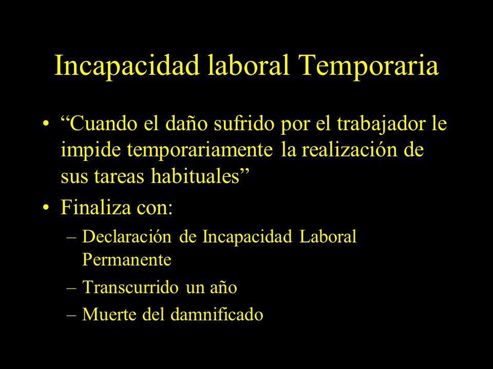 Dra. Graciela A. Aguirre Incapacidad laboral Temporaria Cuando el daño sufrido por el trabajador le impide temporariamente la realización de sus tarea
