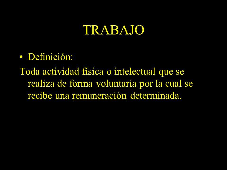 Dra. Graciela A. Aguirre TRABAJO Definición: Toda actividad física o intelectual que se realiza de forma voluntaria por la cual se recibe una remunera