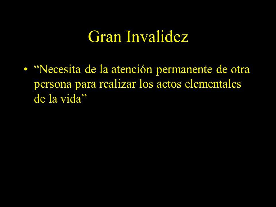 Dra. Graciela A. Aguirre Gran Invalidez Necesita de la atención permanente de otra persona para realizar los actos elementales de la vida
