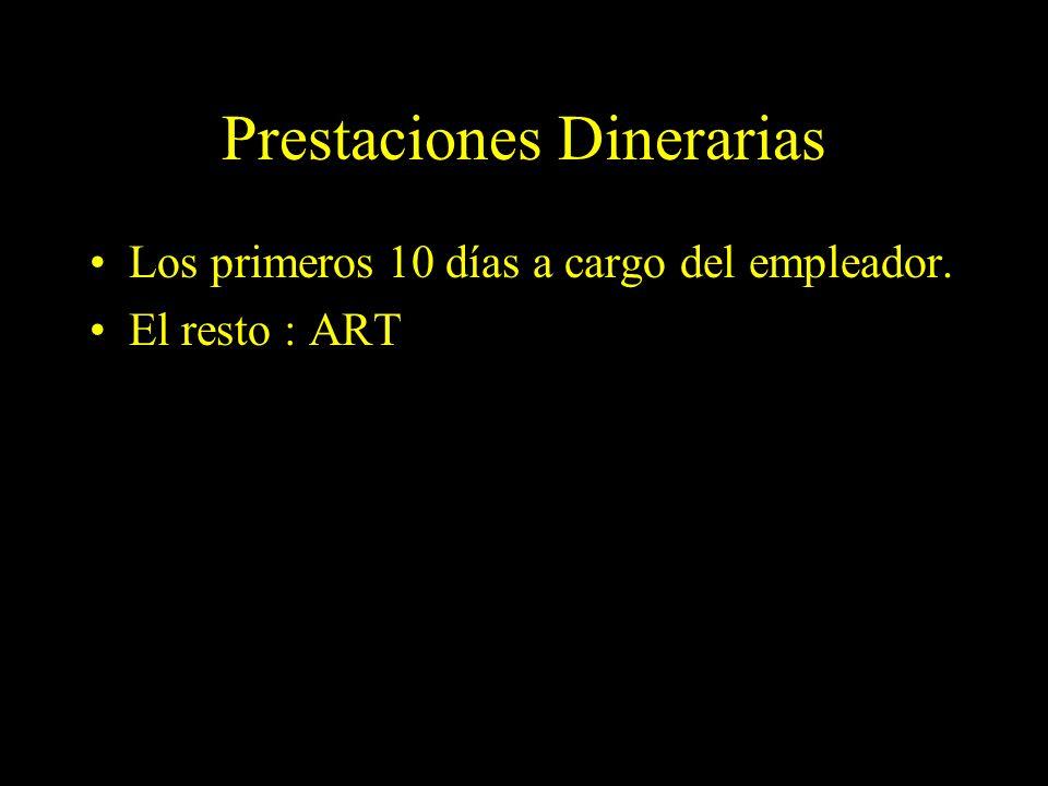 Dra. Graciela A. Aguirre Prestaciones Dinerarias Los primeros 10 días a cargo del empleador. El resto : ART