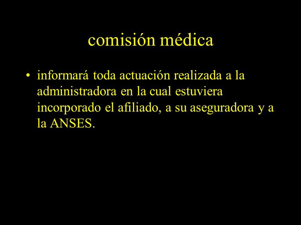 Dra. Graciela A. Aguirre comisión médica informará toda actuación realizada a la administradora en la cual estuviera incorporado el afiliado, a su ase