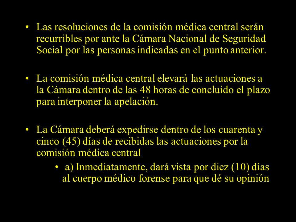 Dra. Graciela A. Aguirre Las resoluciones de la comisión médica central serán recurribles por ante la Cámara Nacional de Seguridad Social por las pers