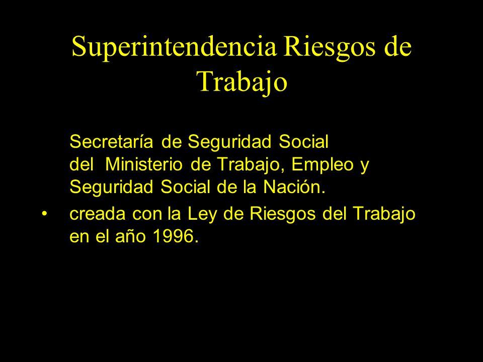 Dra. Graciela A. Aguirre Superintendencia Riesgos de Trabajo Somos un organismo en la órbita de la Secretaría de Seguridad Social del Ministerio de Tr