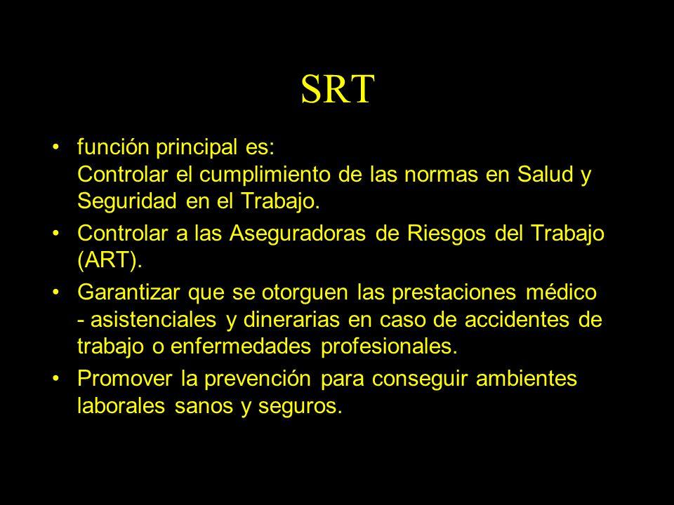 Dra. Graciela A. Aguirre SRT función principal es: Controlar el cumplimiento de las normas en Salud y Seguridad en el Trabajo. Controlar a las Asegura
