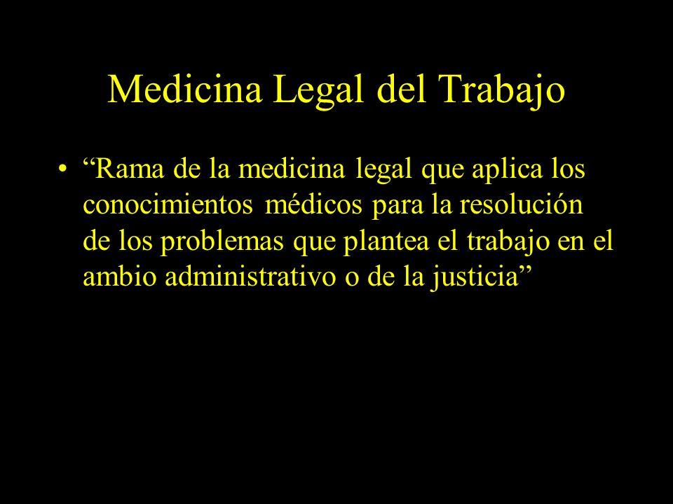 Dra. Graciela A. Aguirre Medicina Legal del Trabajo Rama de la medicina legal que aplica los conocimientos médicos para la resolución de los problemas