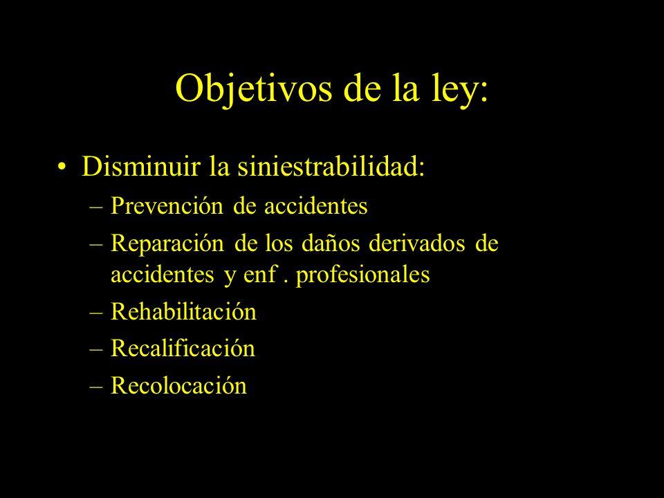 Dra. Graciela A. Aguirre Objetivos de la ley: Disminuir la siniestrabilidad: –Prevención de accidentes –Reparación de los daños derivados de accidente