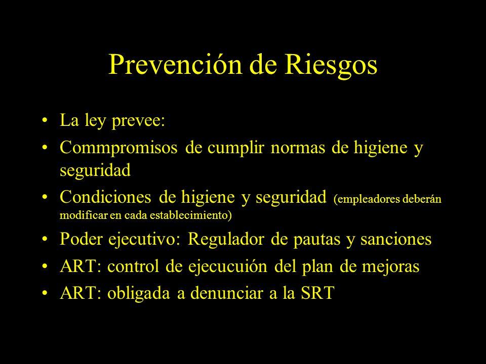 Dra. Graciela A. Aguirre Prevención de Riesgos La ley prevee: Commpromisos de cumplir normas de higiene y seguridad Condiciones de higiene y seguridad
