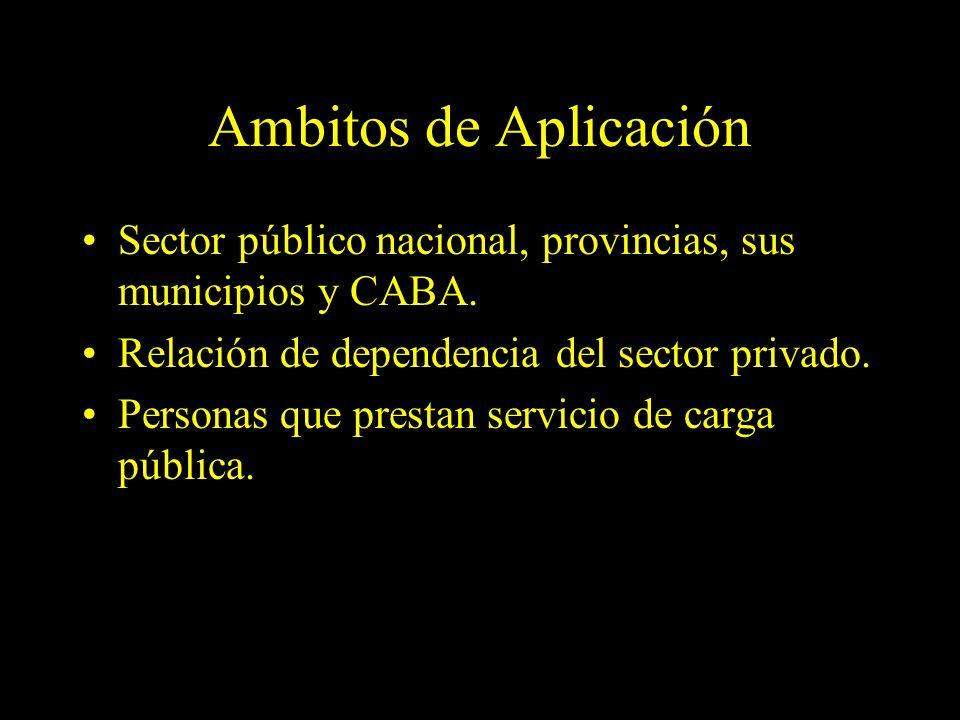 Dra. Graciela A. Aguirre Ambitos de Aplicación Sector público nacional, provincias, sus municipios y CABA. Relación de dependencia del sector privado.
