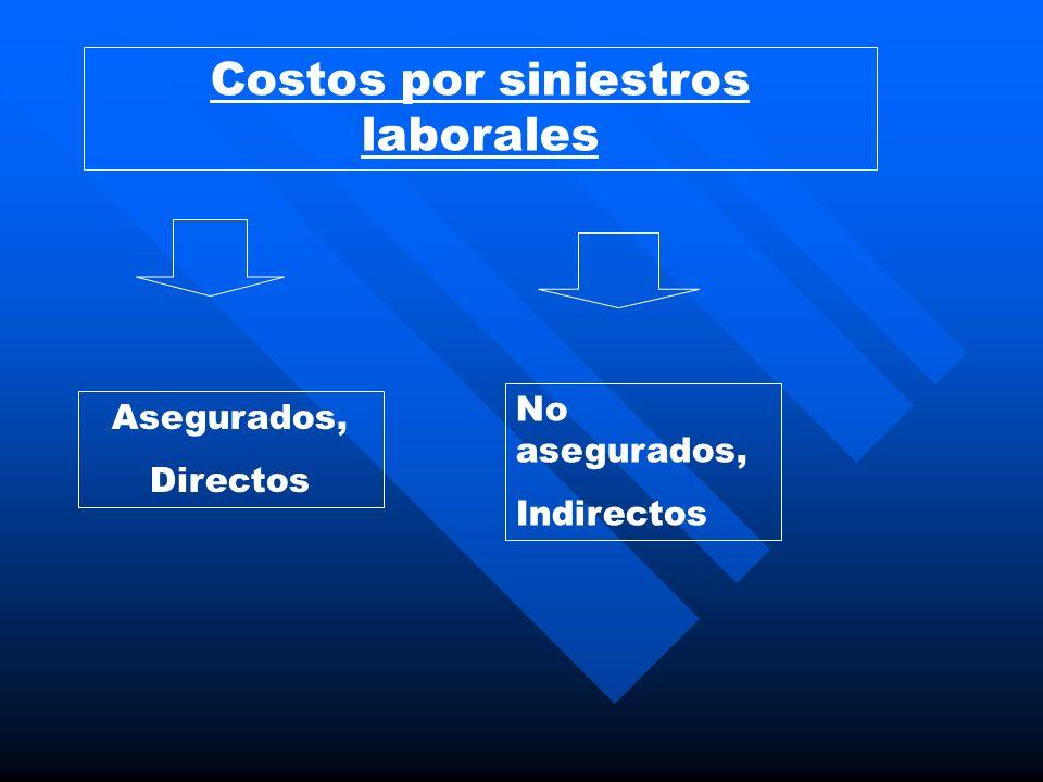 Costos por siniestros laborales Asegurados, Directos No asegurados, Indirectos