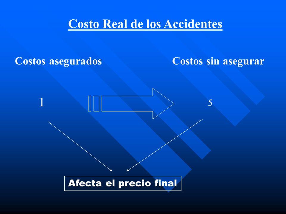 Costo Real de los Accidentes Costos aseguradosCostos sin asegurar 1 5 Afecta el precio final