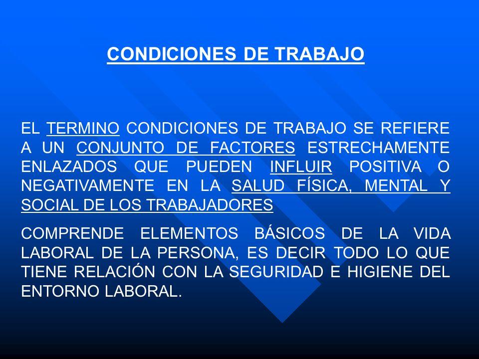 CONDICIONES DE TRABAJO EL TERMINO CONDICIONES DE TRABAJO SE REFIERE A UN CONJUNTO DE FACTORES ESTRECHAMENTE ENLAZADOS QUE PUEDEN INFLUIR POSITIVA O NE