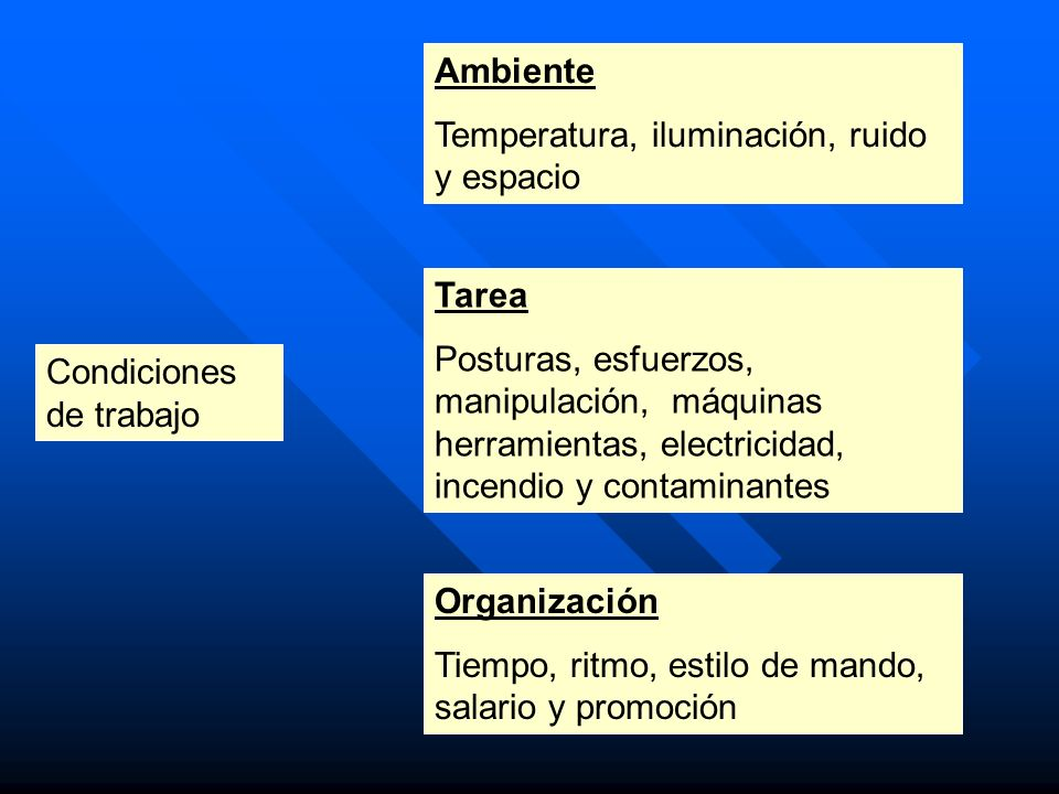Condiciones de trabajo Ambiente Temperatura, iluminación, ruido y espacio Tarea Posturas, esfuerzos, manipulación, máquinas herramientas, electricidad