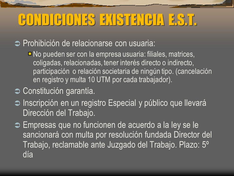 CONDICIONES EXISTENCIA E.S.T. Prohibición de relacionarse con usuaria: No pueden ser con la empresa usuaria: filiales, matrices, coligadas, relacionad