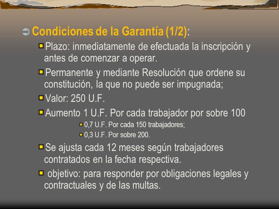 Condiciones de la Garantía (1/2) : Plazo: inmediatamente de efectuada la inscripción y antes de comenzar a operar. Permanente y mediante Resolución qu
