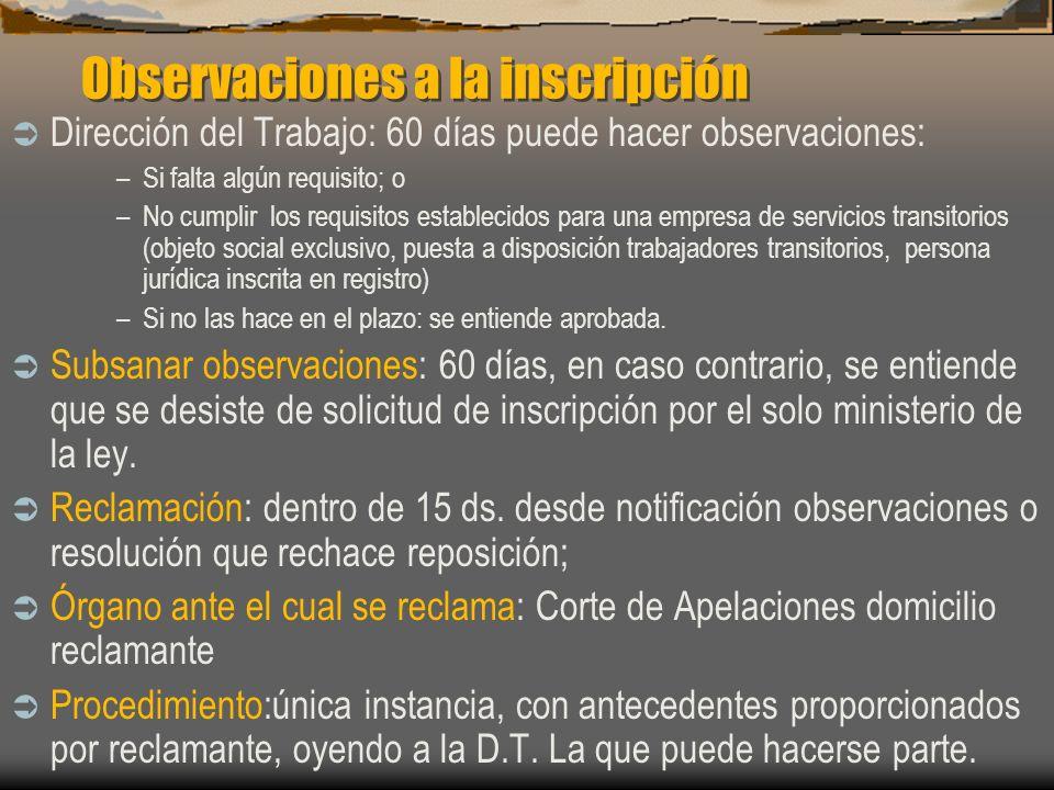 Observaciones a la inscripción Dirección del Trabajo: 60 días puede hacer observaciones: –Si falta algún requisito; o –No cumplir los requisitos estab