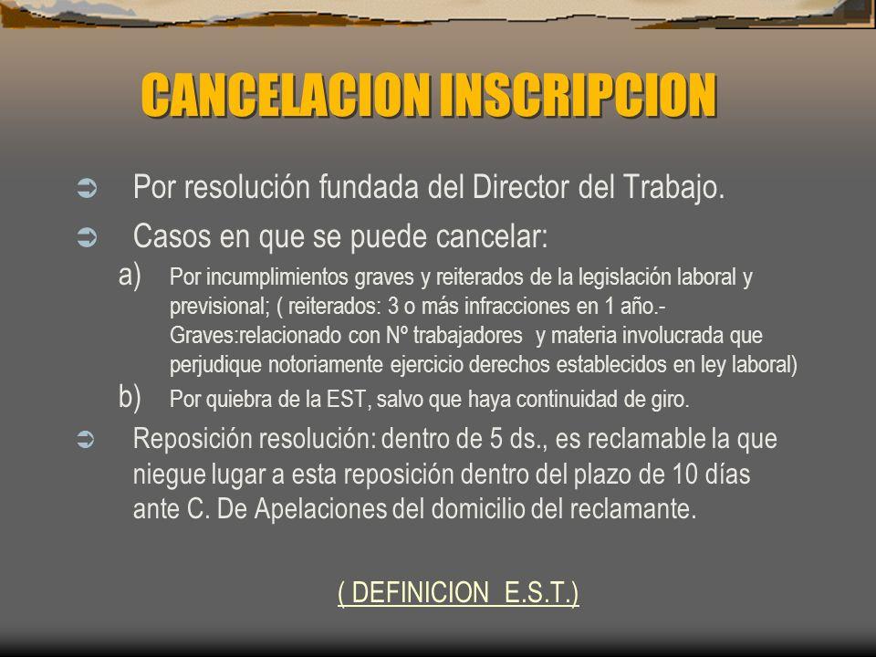 CANCELACION INSCRIPCION Por resolución fundada del Director del Trabajo. Casos en que se puede cancelar: a) Por incumplimientos graves y reiterados de