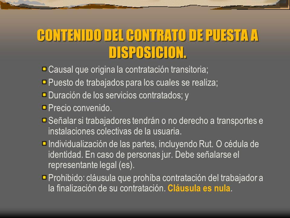 CONTENIDO DEL CONTRATO DE PUESTA A DISPOSICION. Causal que origina la contratación transitoria; Puesto de trabajados para los cuales se realiza; Durac