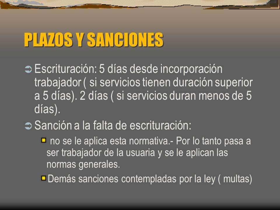 PLAZOS Y SANCIONES Escrituración: 5 días desde incorporación trabajador ( si servicios tienen duración superior a 5 días).2 días ( si servicios duran menos de 5 días).