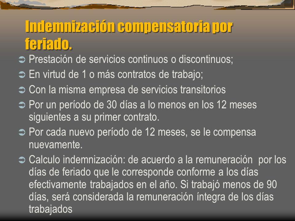 Indemnización compensatoria por feriado. Prestación de servicios continuos o discontinuos; En virtud de 1 o más contratos de trabajo; Con la misma emp
