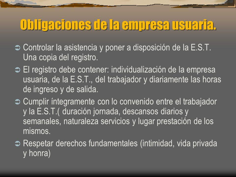 Obligaciones de la empresa usuaria. Controlar la asistencia y poner a disposición de la E.S.T. Una copia del registro. El registro debe contener: indi